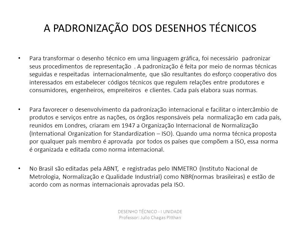 A PADRONIZAÇÃO DOS DESENHOS TÉCNICOS Para transformar o desenho técnico em uma linguagem gráfica, foi necessário padronizar seus procedimentos de representação.