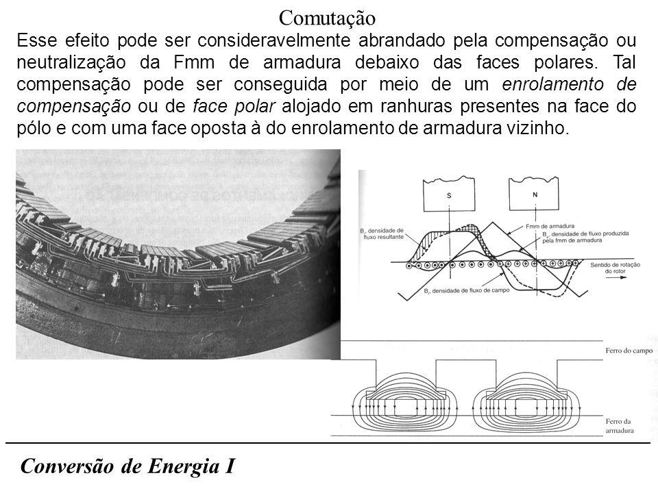 Conversão de Energia I Comutação Esse efeito pode ser consideravelmente abrandado pela compensação ou neutralização da Fmm de armadura debaixo das fac