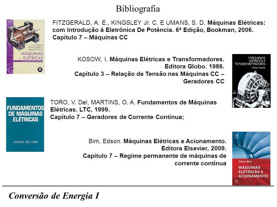 Bibliografia Conversão de Energia I FITZGERALD, A. E., KINGSLEY Jr. C. E UMANS, S. D. Máquinas Elétricas: com Introdução à Eletrônica De Potência. 6ª