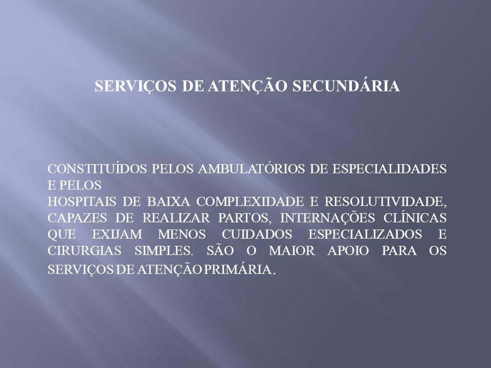 SERVIÇOS DE ATENÇÃO SECUNDÁRIA CONSTITUÍDOS PELOS AMBULATÓRIOS DE ESPECIALIDADES E PELOS HOSPITAIS DE BAIXA COMPLEXIDADE E RESOLUTIVIDADE, CAPAZES DE