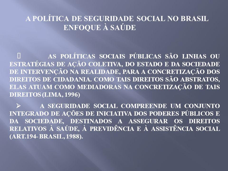 AS POLÍTICAS SOCIAIS PÚBLICAS SÃO LINHAS OU ESTRATÉGIAS DE AÇÃO COLETIVA, DO ESTADO E DA SOCIEDADE DE INTERVENÇÃO NA REALIDADE, PARA A CONCRETIZAÇÃO D