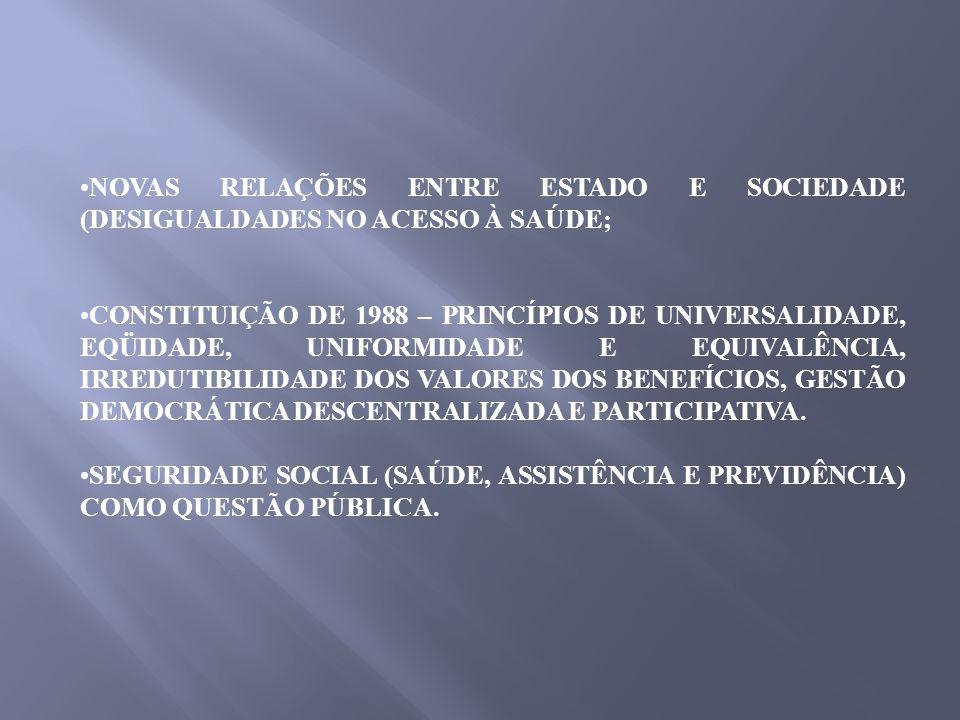 NOVAS RELAÇÕES ENTRE ESTADO E SOCIEDADE (DESIGUALDADES NO ACESSO À SAÚDE; CONSTITUIÇÃO DE 1988 – PRINCÍPIOS DE UNIVERSALIDADE, EQÜIDADE, UNIFORMIDADE