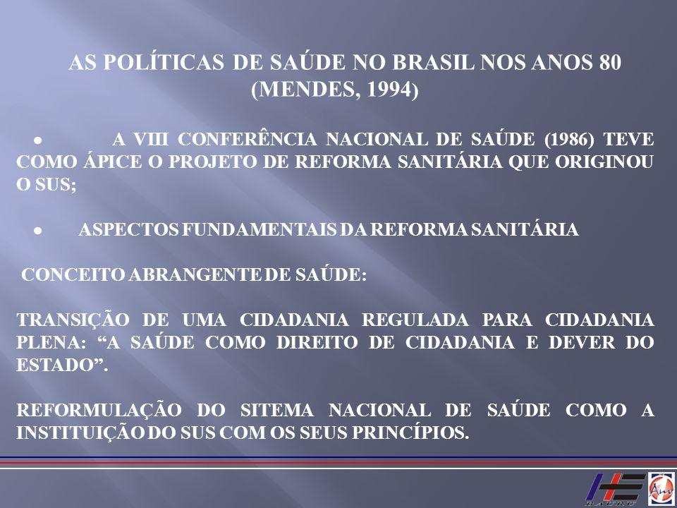AS POLÍTICAS DE SAÚDE NO BRASIL NOS ANOS 80 (MENDES, 1994 ) A VIII CONFERÊNCIA NACIONAL DE SAÚDE (1986) TEVE COMO ÁPICE O PROJETO DE REFORMA SANITÁRIA