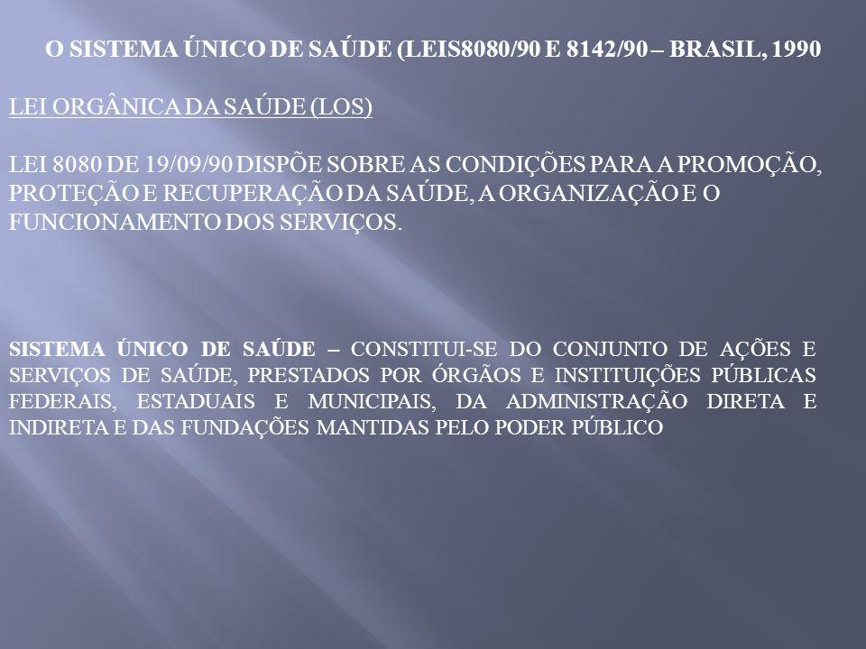O SISTEMA ÚNICO DE SAÚDE (LEIS8080/90 E 8142/90 – BRASIL, 1990 LEI ORGÂNICA DA SAÚDE (LOS) LEI 8080 DE 19/09/90 DISPÕE SOBRE AS CONDIÇÕES PARA A PROMO