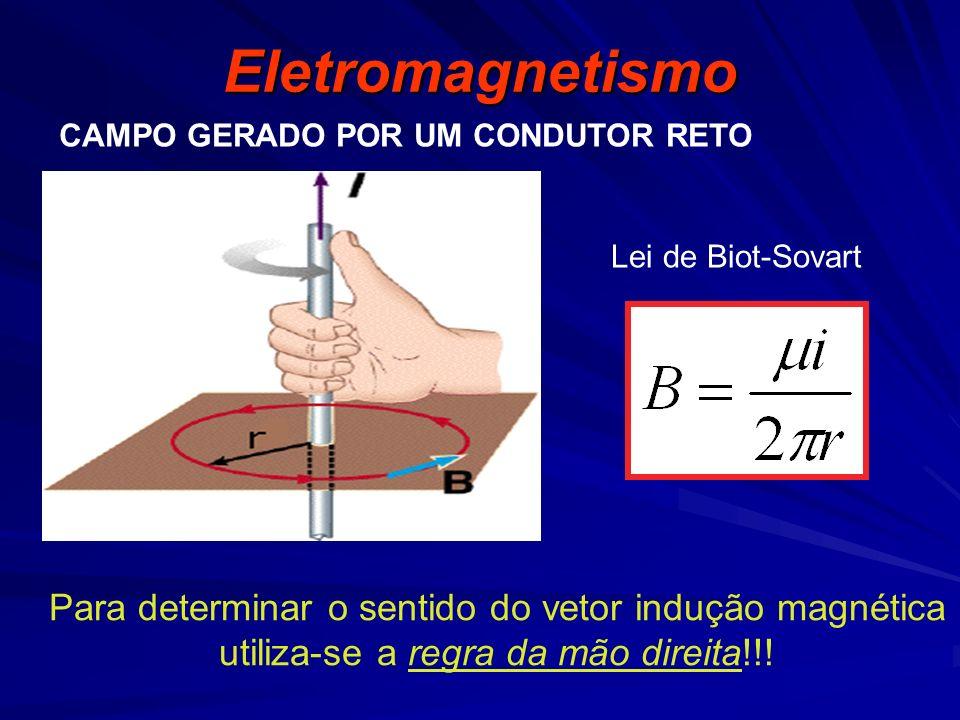 Eletromagnetismo CAMPO GERADO POR UM CONDUTOR RETO Lei de Biot-Sovart Para determinar o sentido do vetor indução magnética utiliza-se a regra da mão direita!!!
