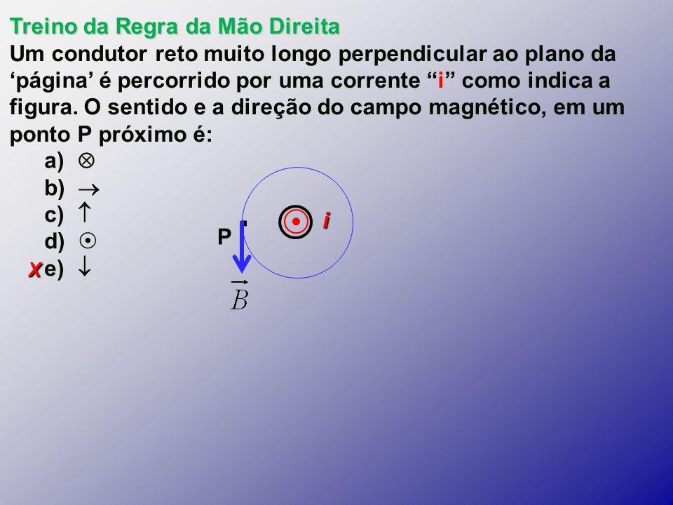 X Treino da Regra da Mão Direita i Um condutor reto muito longo perpendicular ao plano da página é percorrido por uma corrente i como indica a figura.