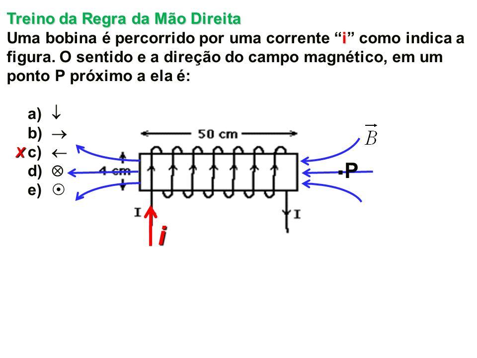 X Treino da Regra da Mão Direita i Uma bobina é percorrido por uma corrente i como indica a figura.