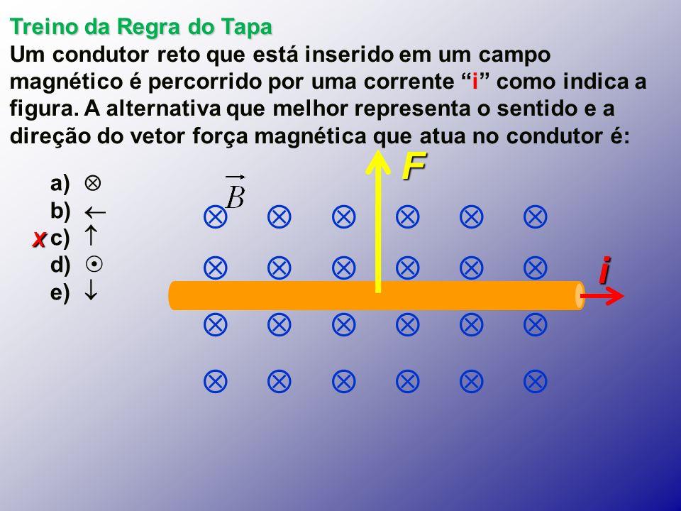 X Treino da Regra do Tapa i Um condutor reto que está inserido em um campo magnético é percorrido por uma corrente i como indica a figura.