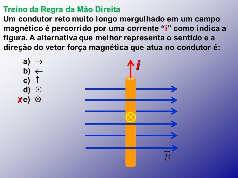 X Treino da Regra da Mão Direita i Um condutor reto muito longo mergulhado em um campo magnético é percorrido por uma corrente i como indica a figura.