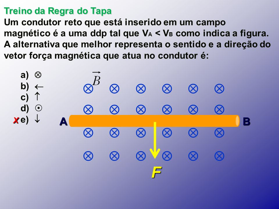 X Treino da Regra do Tapa Um condutor reto que está inserido em um campo magnético é a uma ddp tal que V A < V B como indica a figura.
