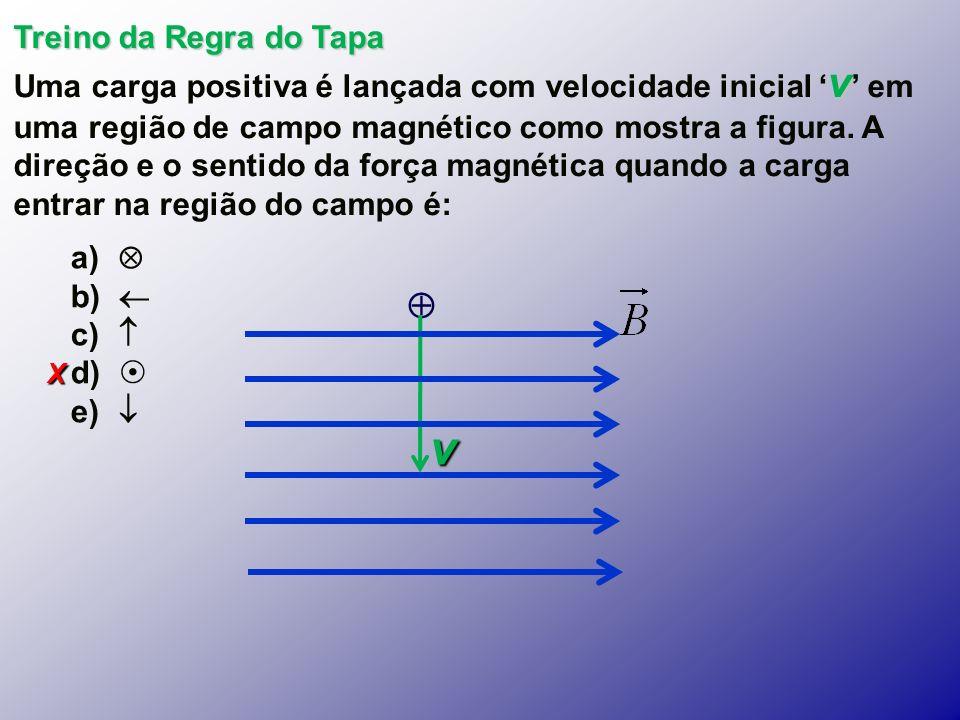X Treino da Regra do Tapa v Uma carga positiva é lançada com velocidade inicial v em uma região de campo magnético como mostra a figura.
