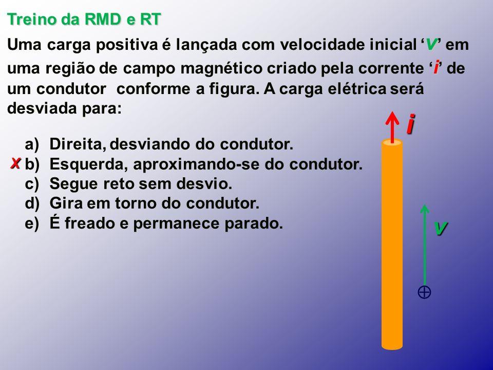 X Treino da RMD e RT v i Uma carga positiva é lançada com velocidade inicial v em uma região de campo magnético criado pela corrente i de um condutor conforme a figura.