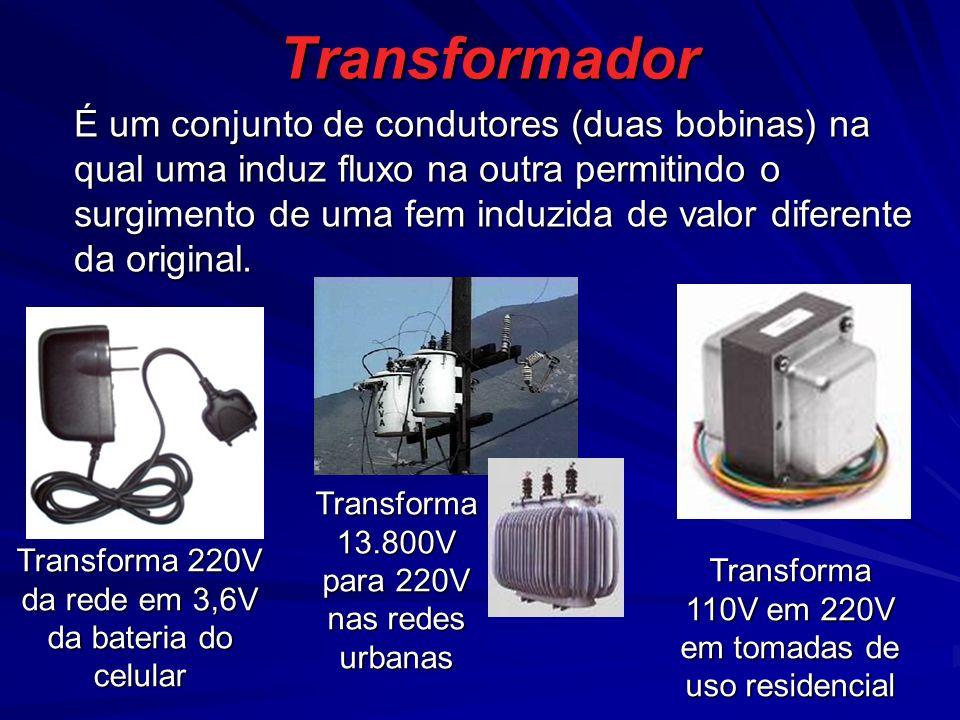 Transformador Transforma 220V da rede em 3,6V da bateria do celular É um conjunto de condutores (duas bobinas) na qual uma induz fluxo na outra permitindo o surgimento de uma fem induzida de valor diferente da original.