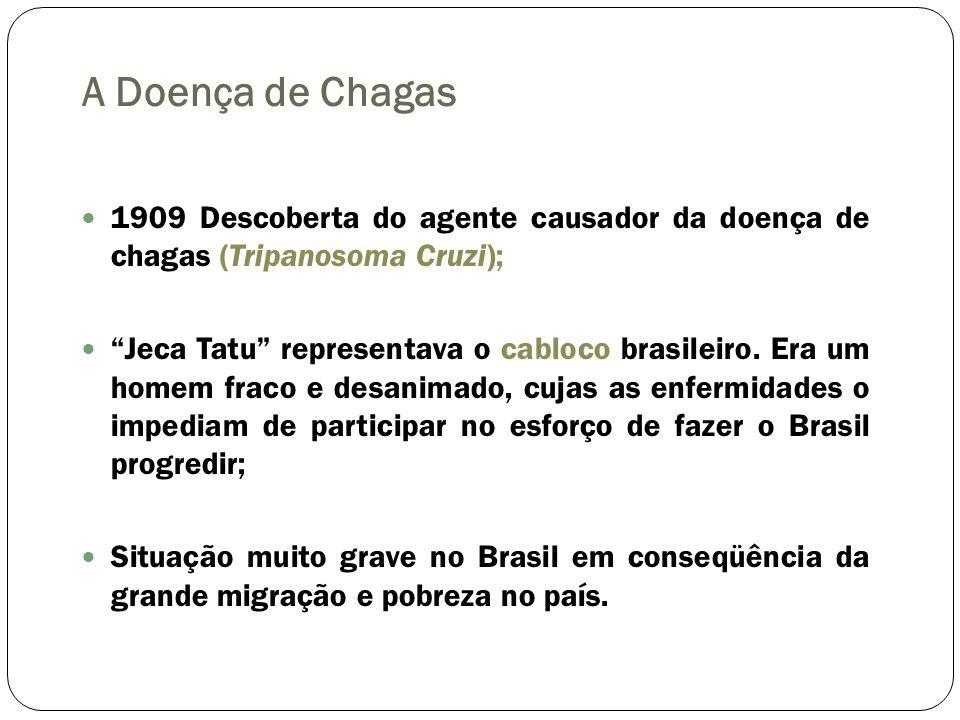 A Doença de Chagas 1909 Descoberta do agente causador da doença de chagas (Tripanosoma Cruzi); Jeca Tatu representava o cabloco brasileiro. Era um hom