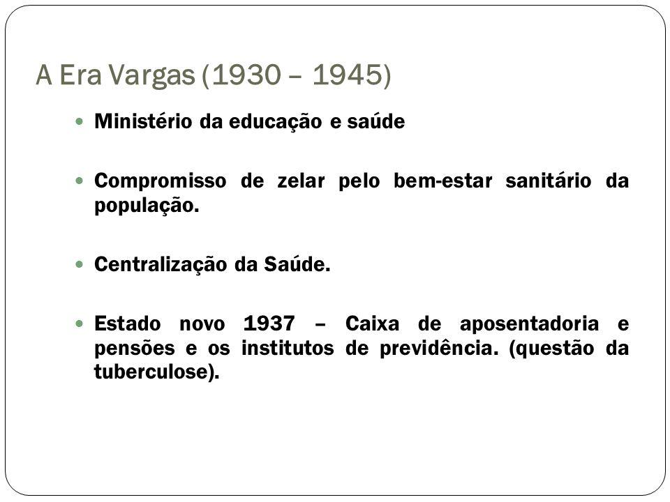 A Era Vargas (1930 – 1945) Ministério da educação e saúde Compromisso de zelar pelo bem-estar sanitário da população. Centralização da Saúde. Estado n