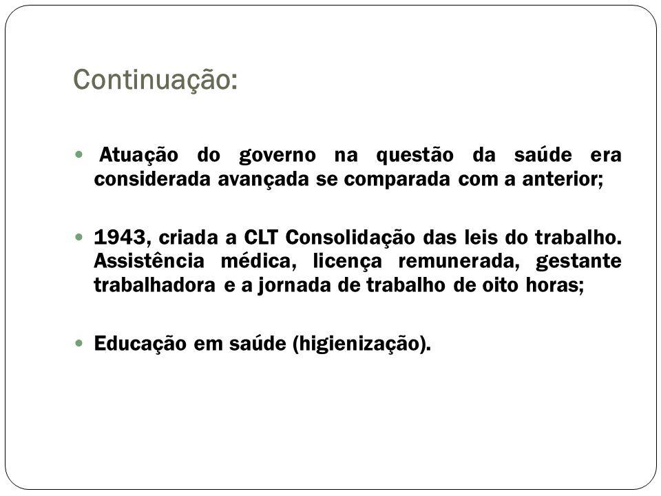 Continuação: Atuação do governo na questão da saúde era considerada avançada se comparada com a anterior; 1943, criada a CLT Consolidação das leis do
