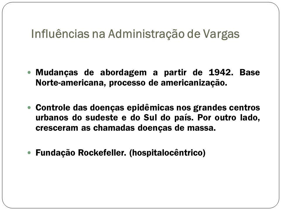 Influências na Administração de Vargas Mudanças de abordagem a partir de 1942. Base Norte-americana, processo de americanização. Controle das doenças