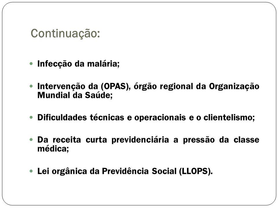 Continuação: Infecção da malária; Intervenção da (OPAS), órgão regional da Organização Mundial da Saúde; Dificuldades técnicas e operacionais e o clie