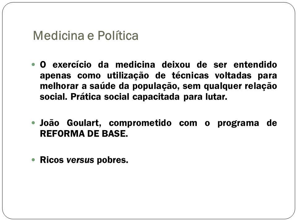 Medicina e Política O exercício da medicina deixou de ser entendido apenas como utilização de técnicas voltadas para melhorar a saúde da população, se