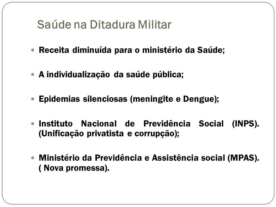 Saúde na Ditadura Militar Receita diminuída para o ministério da Saúde; A individualização da saúde pública; Epidemias silenciosas (meningite e Dengue