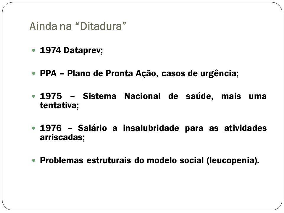 Ainda na Ditadura 1974 Dataprev; PPA – Plano de Pronta Ação, casos de urgência; 1975 – Sistema Nacional de saúde, mais uma tentativa; 1976 – Salário a