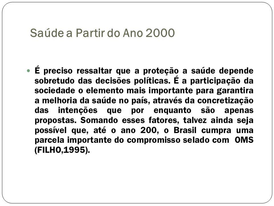 Saúde a Partir do Ano 2000 É preciso ressaltar que a proteção a saúde depende sobretudo das decisões políticas. É a participação da sociedade o elemen