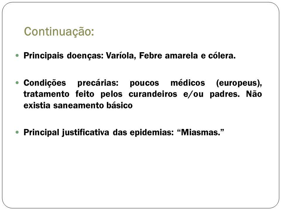 Continuação: Principais doenças: Varíola, Febre amarela e cólera. Condições precárias: poucos médicos (europeus), tratamento feito pelos curandeiros e