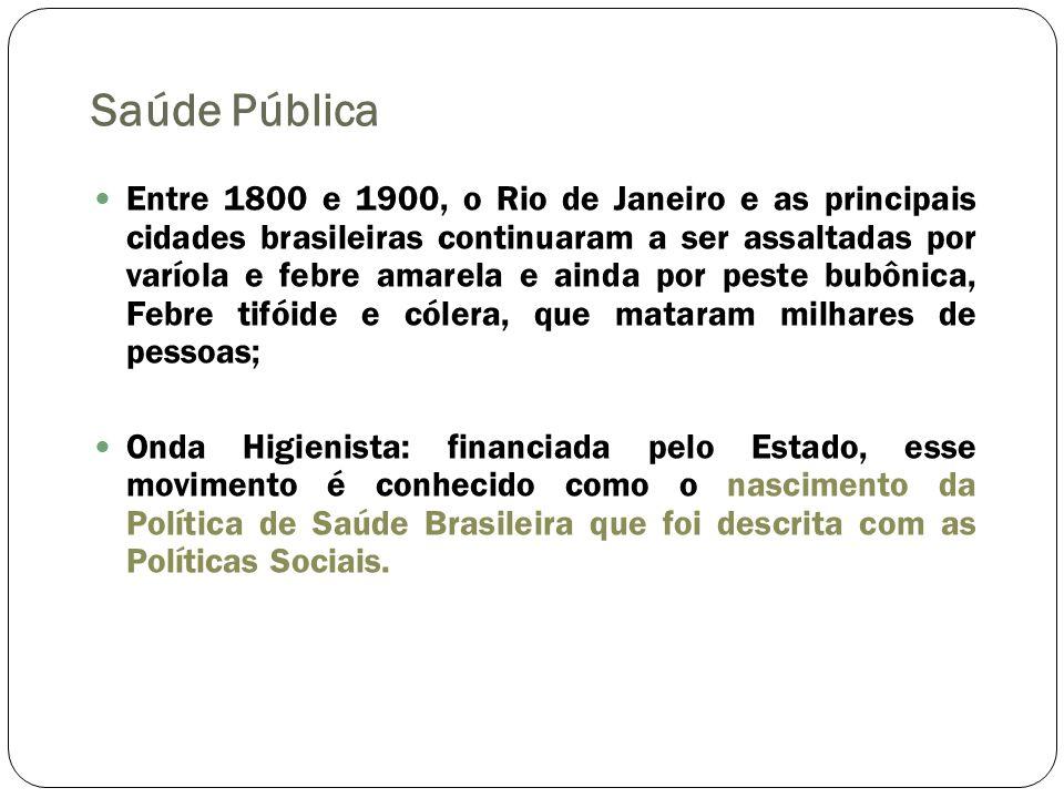 Saúde Pública Entre 1800 e 1900, o Rio de Janeiro e as principais cidades brasileiras continuaram a ser assaltadas por varíola e febre amarela e ainda