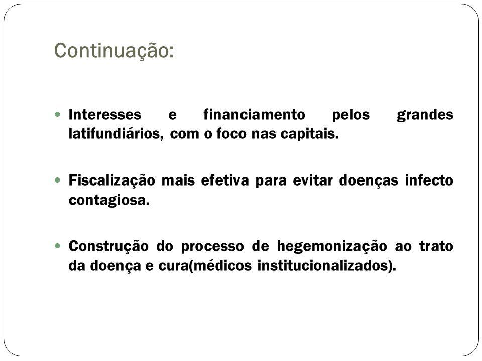 Continuação: Interesses e financiamento pelos grandes latifundiários, com o foco nas capitais. Fiscalização mais efetiva para evitar doenças infecto c
