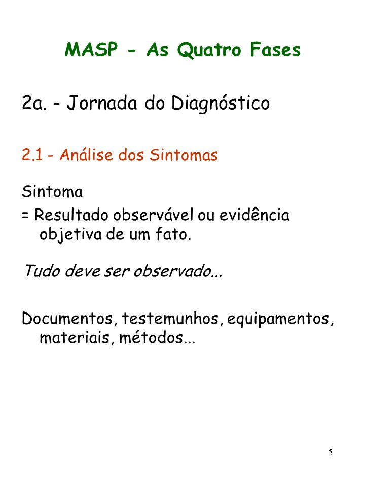 5 MASP - As Quatro Fases 2a. - Jornada do Diagnóstico 2.1 - Análise dos Sintomas Sintoma = Resultado observável ou evidência objetiva de um fato. Tudo