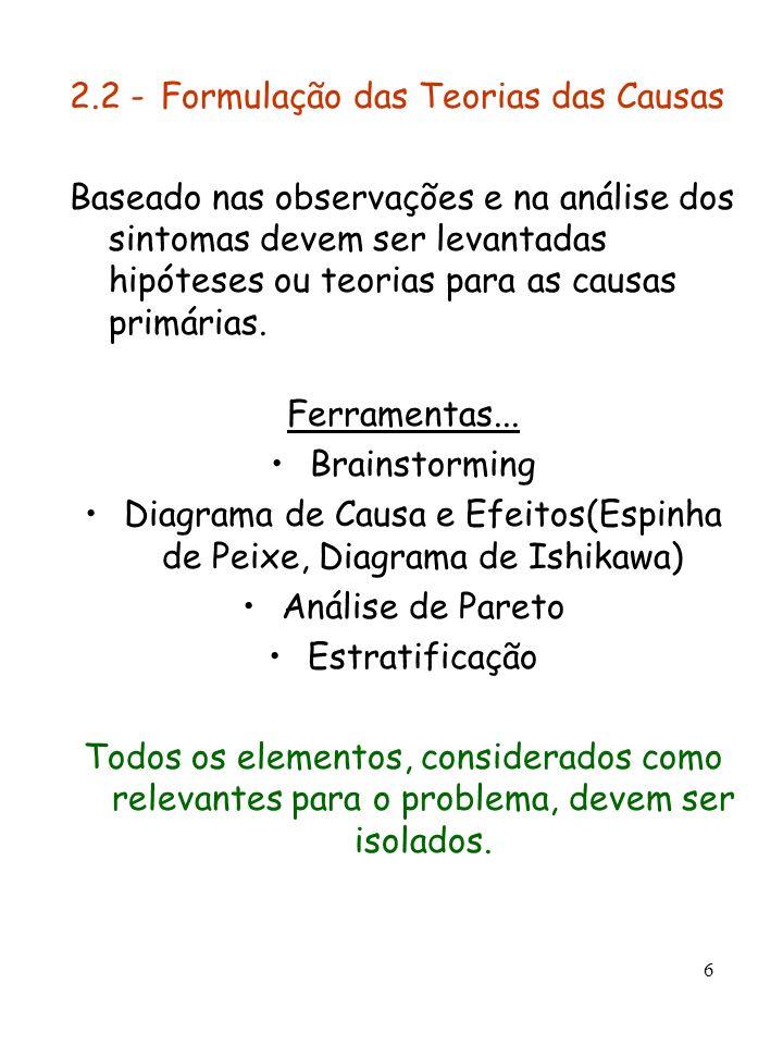 6 2.2 - Formulação das Teorias das Causas Baseado nas observações e na análise dos sintomas devem ser levantadas hipóteses ou teorias para as causas p