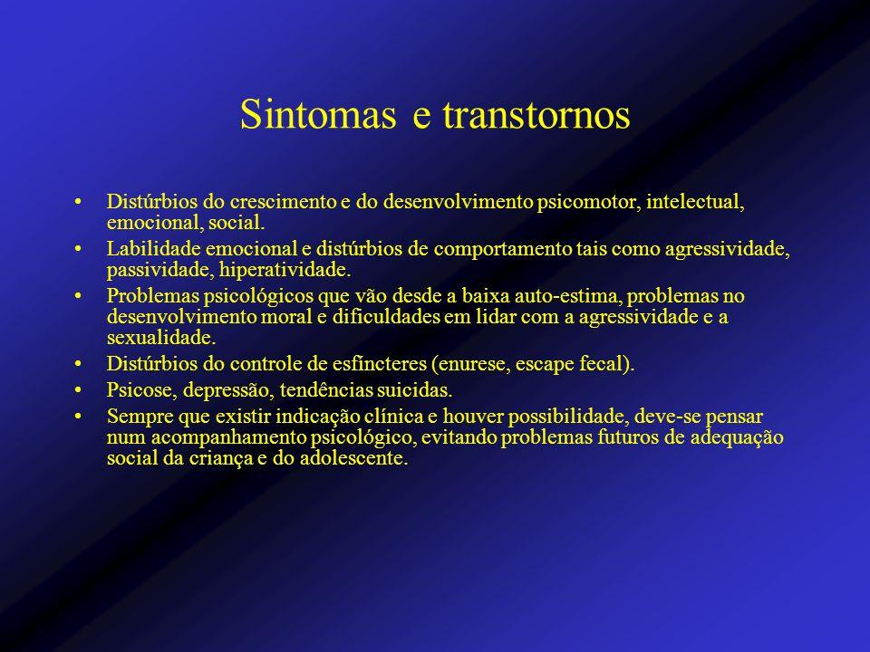 Sintomas e transtornos Distúrbios do crescimento e do desenvolvimento psicomotor, intelectual, emocional, social. Labilidade emocional e distúrbios de