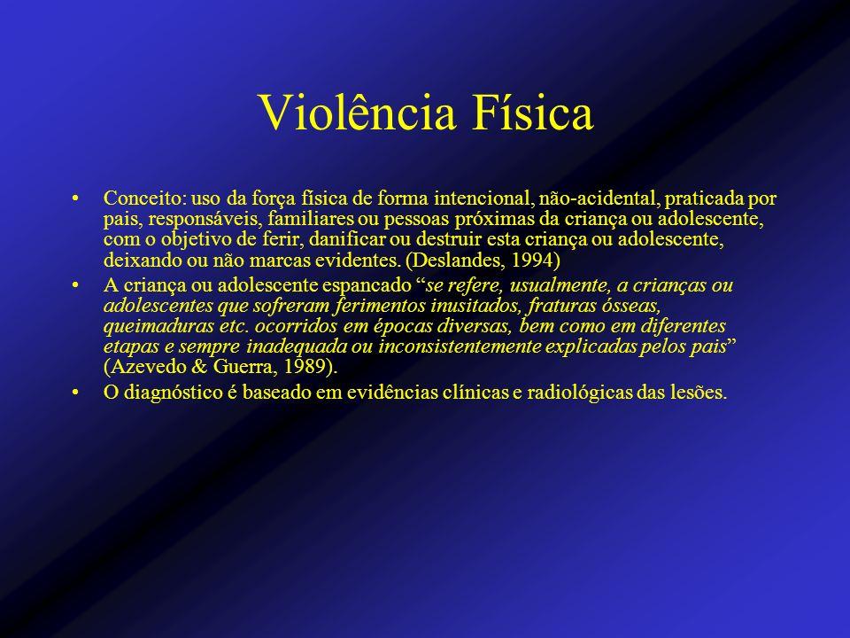 Violência Física Conceito: uso da força física de forma intencional, não-acidental, praticada por pais, responsáveis, familiares ou pessoas próximas d