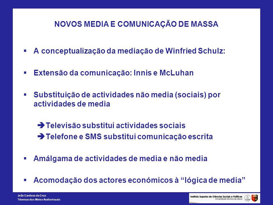 João Cardoso da Cruz Técnicas dos Meios Audiovisuais NOVOS MEDIA E COMUNICAÇÃO DE MASSA A conceptualização da mediação de Winfried Schulz: Extensão da