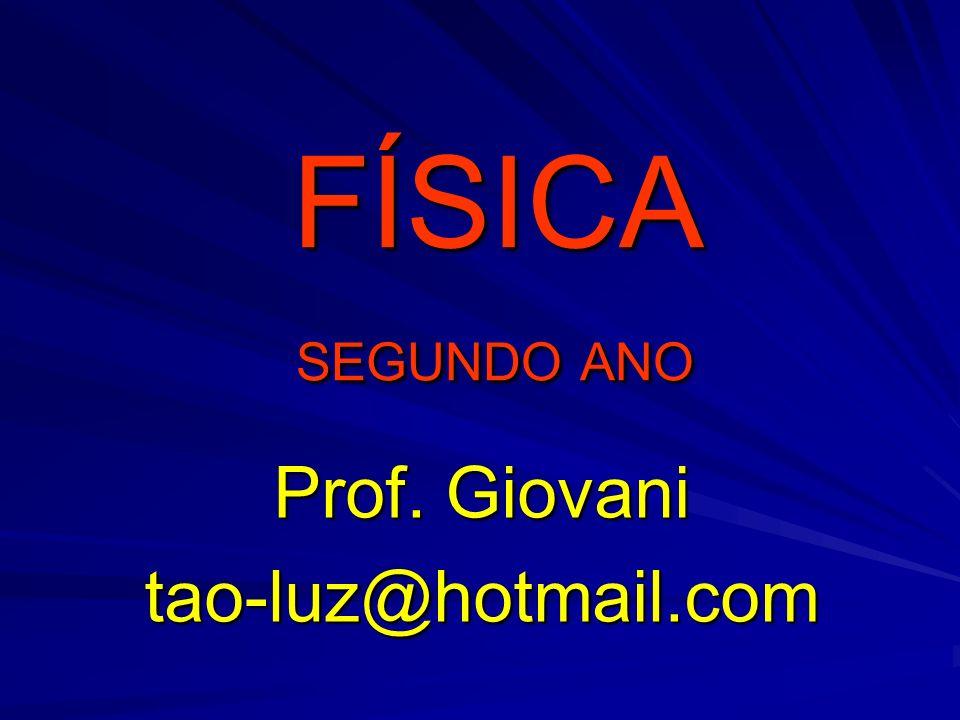FÍSICA SEGUNDO ANO FÍSICA SEGUNDO ANO Prof. Giovani tao-luz@hotmail.com
