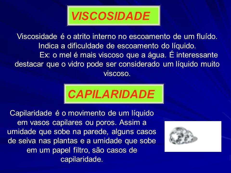 VISCOSIDADE Viscosidade é o atrito interno no escoamento de um fluído. Indica a dificuldade de escoamento do líquido. Ex: o mel é mais viscoso que a á