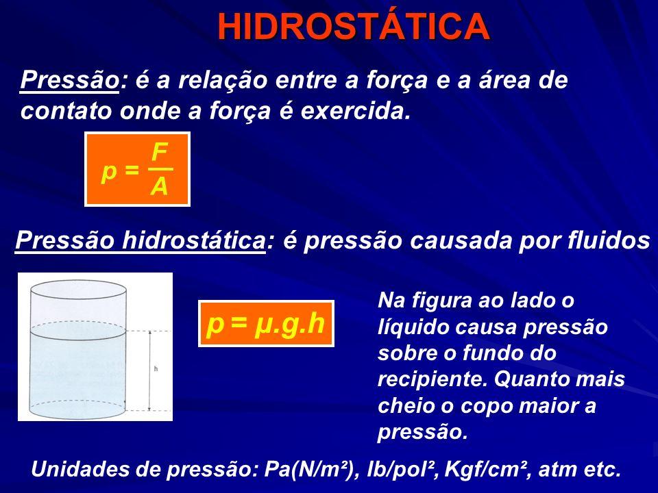 HIDROSTÁTICA p = F A Pressão: é a relação entre a força e a área de contato onde a força é exercida. p = μ.g.h Pressão hidrostática: é pressão causada