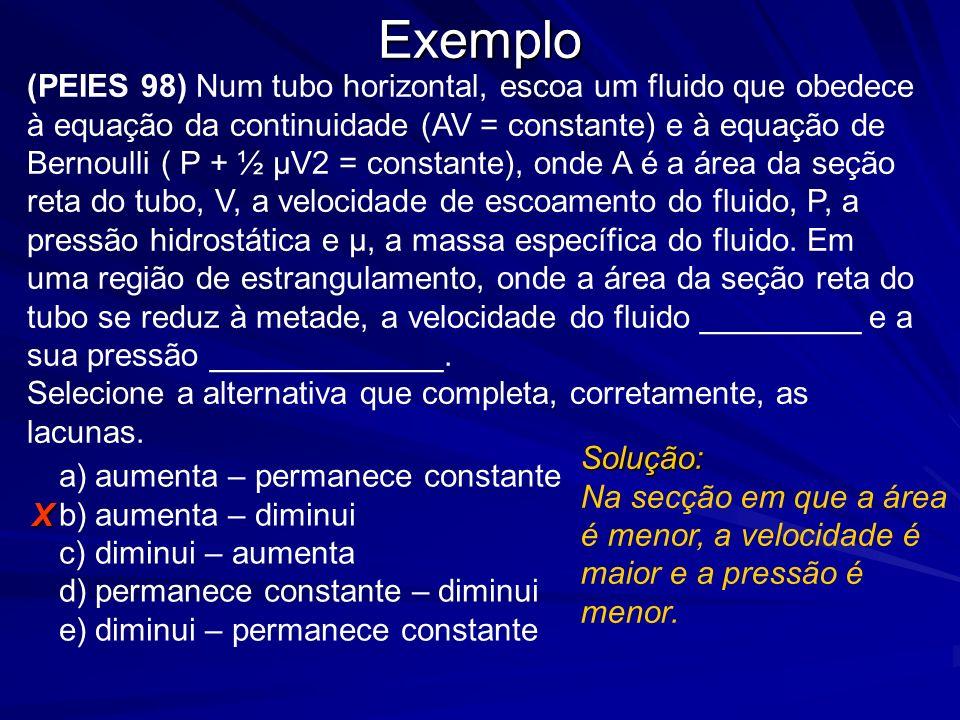 Exemplo (PEIES 98) Num tubo horizontal, escoa um fluido que obedece à equação da continuidade (AV = constante) e à equação de Bernoulli ( P + ½ μV2 =