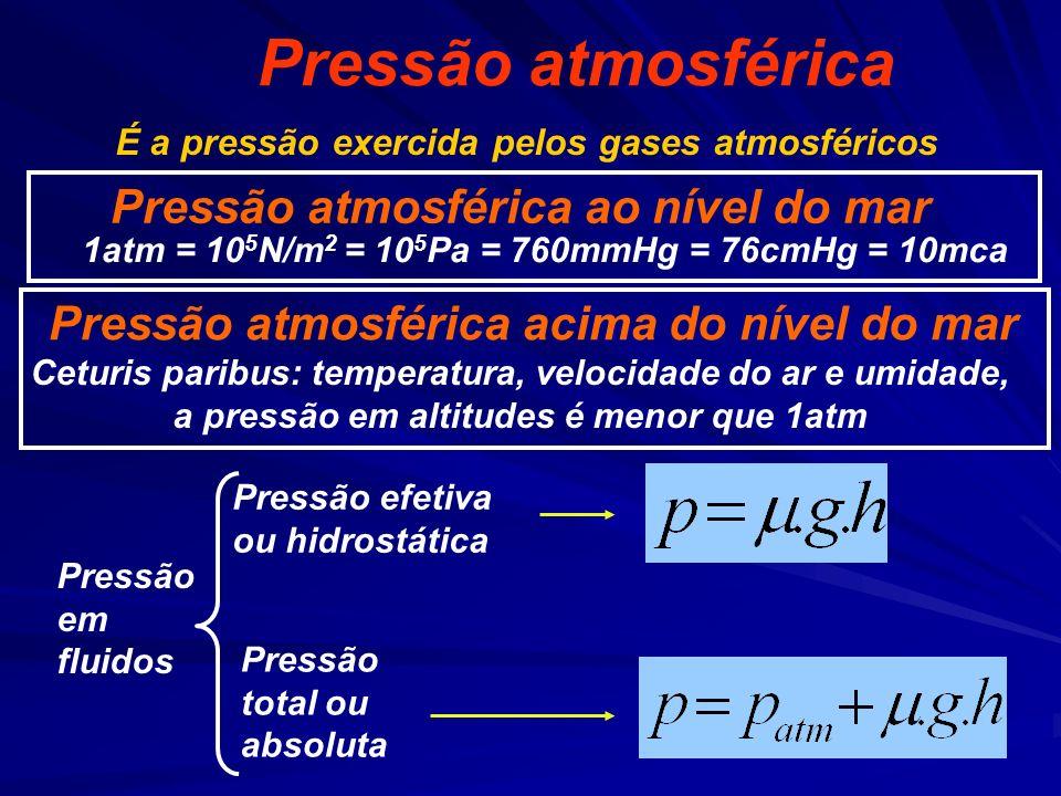 Pressão atmosférica Pressão efetiva ou hidrostática 1atm = 10 5 N/m 2 = 10 5 Pa = 760mmHg = 76cmHg = 10mca Pressão atmosférica ao nível do mar Pressão