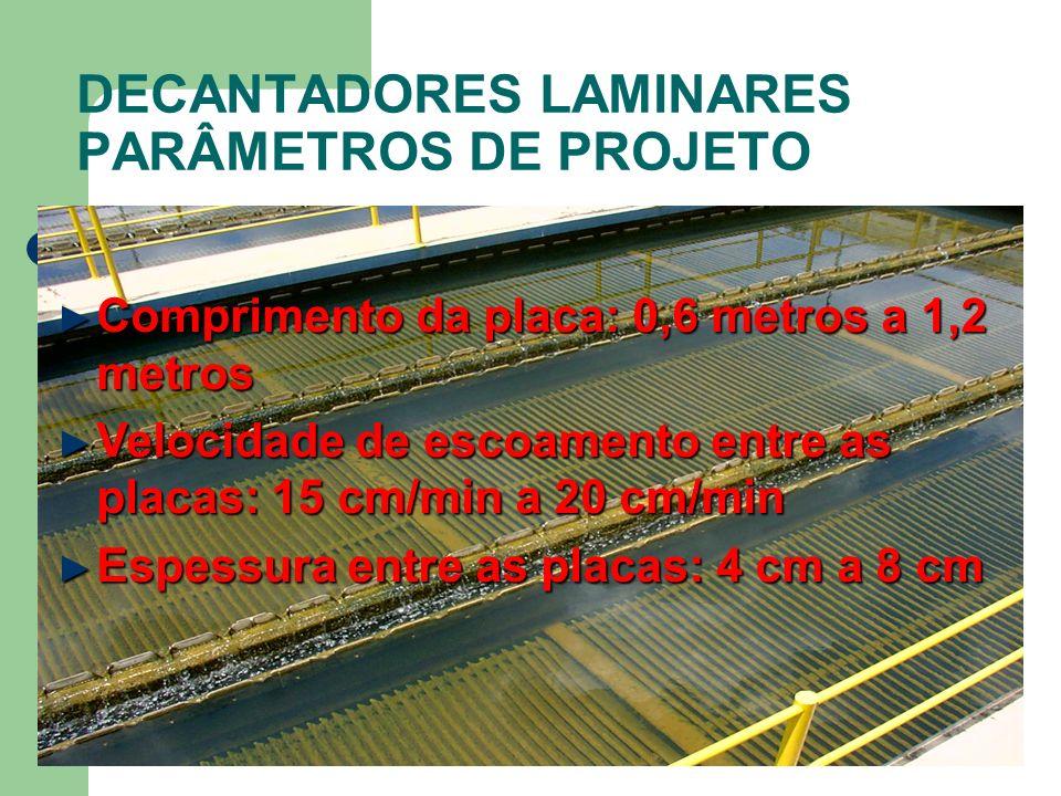 DECANTADORES LAMINARES PARÂMETROS DE PROJETO Comprimento da placa: 0,6 metros a 1,2 metros Comprimento da placa: 0,6 metros a 1,2 metros Velocidade de
