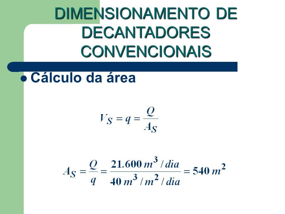 Cálculo da área DIMENSIONAMENTO DE DECANTADORES CONVENCIONAIS