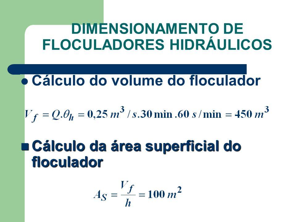Cálculo do volume do floculador Cálculo da área superficial do floculador Cálculo da área superficial do floculador DIMENSIONAMENTO DE FLOCULADORES HI