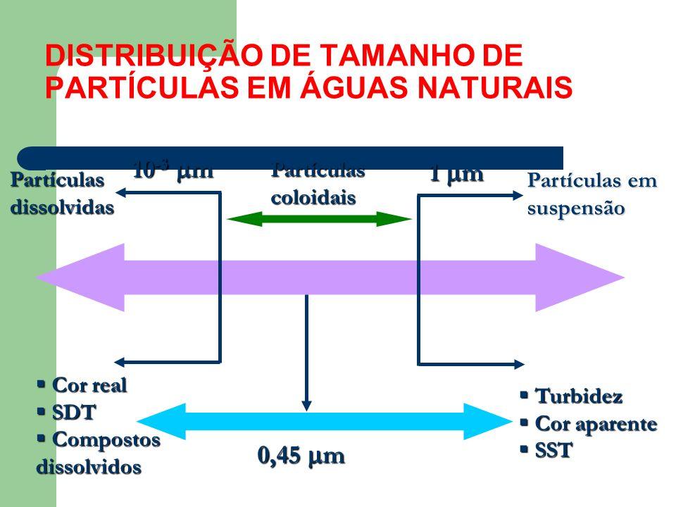 DISTRIBUIÇÃO DE TAMANHO DE PARTÍCULAS EM ÁGUAS NATURAIS 1 m 10 -3 m Partículascoloidais Partículas em suspensão Partículasdissolvidas Turbidez Turbide