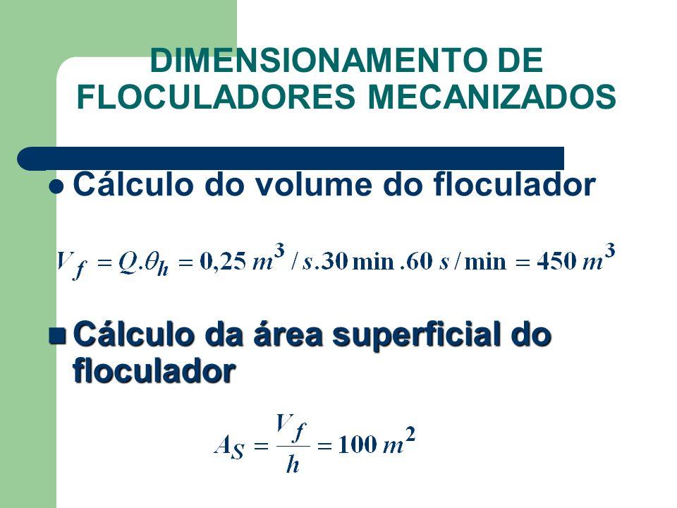 Cálculo do volume do floculador Cálculo da área superficial do floculador Cálculo da área superficial do floculador DIMENSIONAMENTO DE FLOCULADORES MECANIZADOS