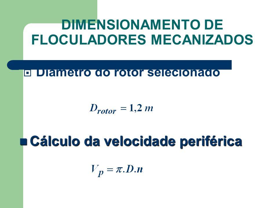 Diâmetro do rotor selecionado Cálculo da velocidade periférica Cálculo da velocidade periférica DIMENSIONAMENTO DE FLOCULADORES MECANIZADOS