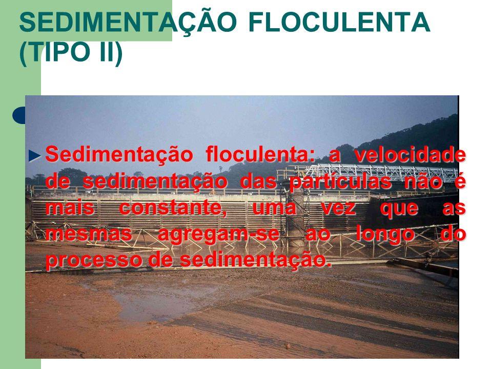 SEDIMENTAÇÃO FLOCULENTA (TIPO II) Sedimentação floculenta: a velocidade de sedimentação das partículas não é mais constante, uma vez que as mesmas agr