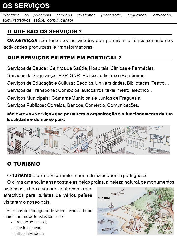 OS SERVIÇOS Identifico os principais serviços existentes (transporte, segurança, educação, administrativos, saúde, comunicação) O QUE SÃO OS SERVIÇOS