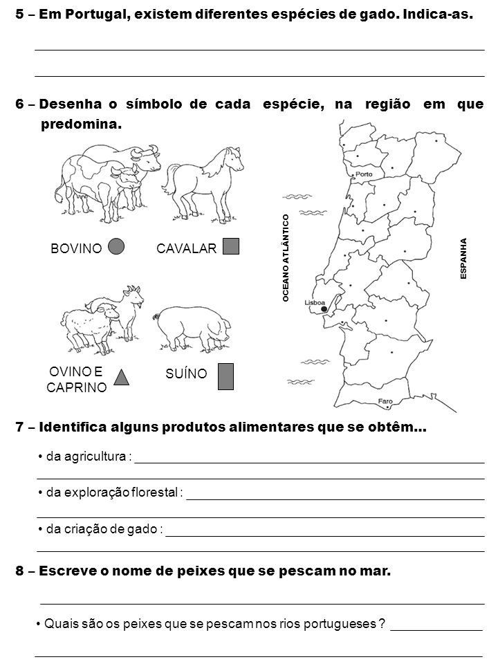 5 – Em Portugal, existem diferentes espécies de gado. Indica-as. 6 – Desenha o símbolo de cada espécie, na região em que predomina. 7 – Identifica alg