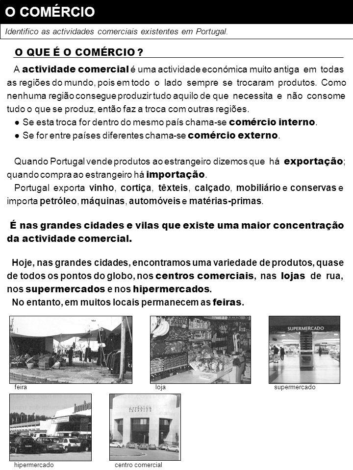 O COMÉRCIO Identifico as actividades comerciais existentes em Portugal. O QUE É O COMÉRCIO ? A actividade comercial é uma actividade económica muito a