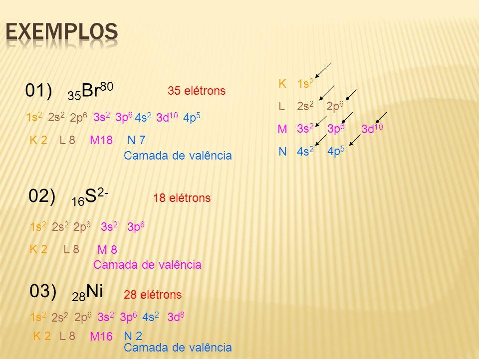 01) 35 Br 80 1s 2 2s 2 2p 6 3s 2 3p 6 4s 2 3d 10 4p 5 K L M N K 2L 8 M18 N 7 02) 16 S 2- 18 elétrons 1s 2 2s 2 2p 6 3s 2 3p 6 K 2L 8 M 8 35 elétrons C
